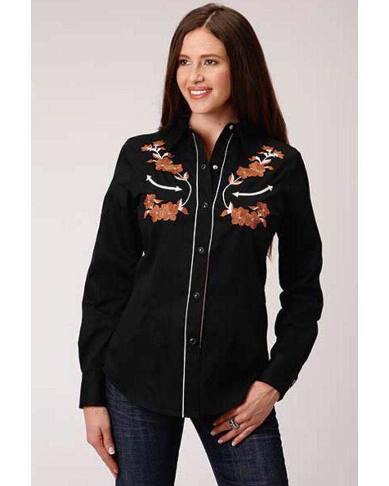 Old West Women's Black Brown Floral Embroidered Long Sleeve Western Shirt , Black, hi-res