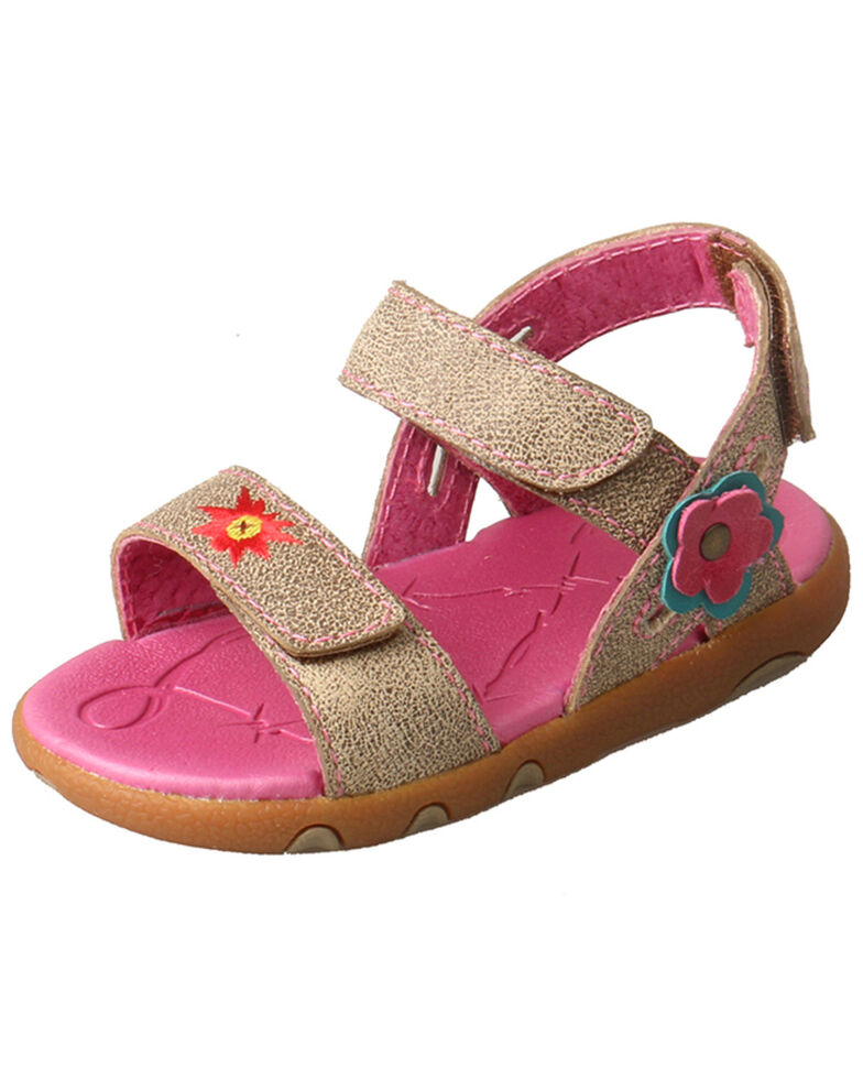 Twisted X Infant Girls' Dusty Tan Sandals, Grey, hi-res