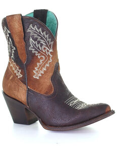 Corral Women's Brown Embroidery Western Booties - Round Toe, Brown, hi-res