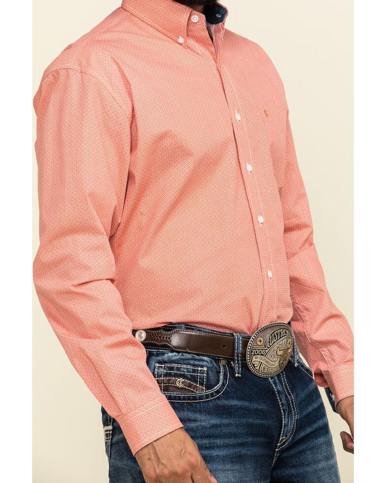 Stetson Men's Sticks & Stones Geo Print Long Sleeve Western Shirt , Orange, hi-res