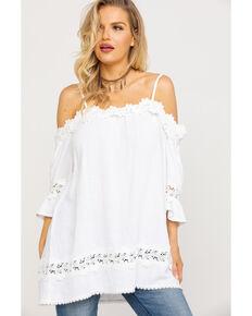 Miss Me Women's White Crochet Cold Shoulder Lace Top, White, hi-res