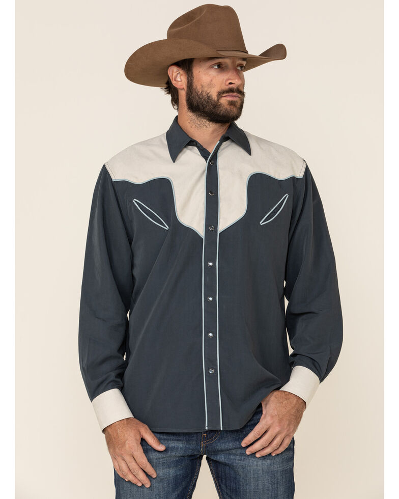 Resistol Men's Navy Gwen Solid Piped Long Sleeve Western Shirt , Navy, hi-res