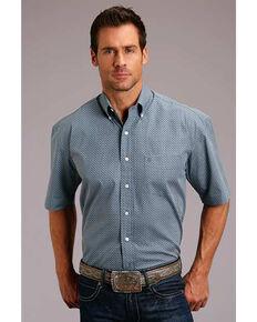 Stetson Men's Classic Neat Geo Print Short Sleeve Western Shirt , Blue, hi-res