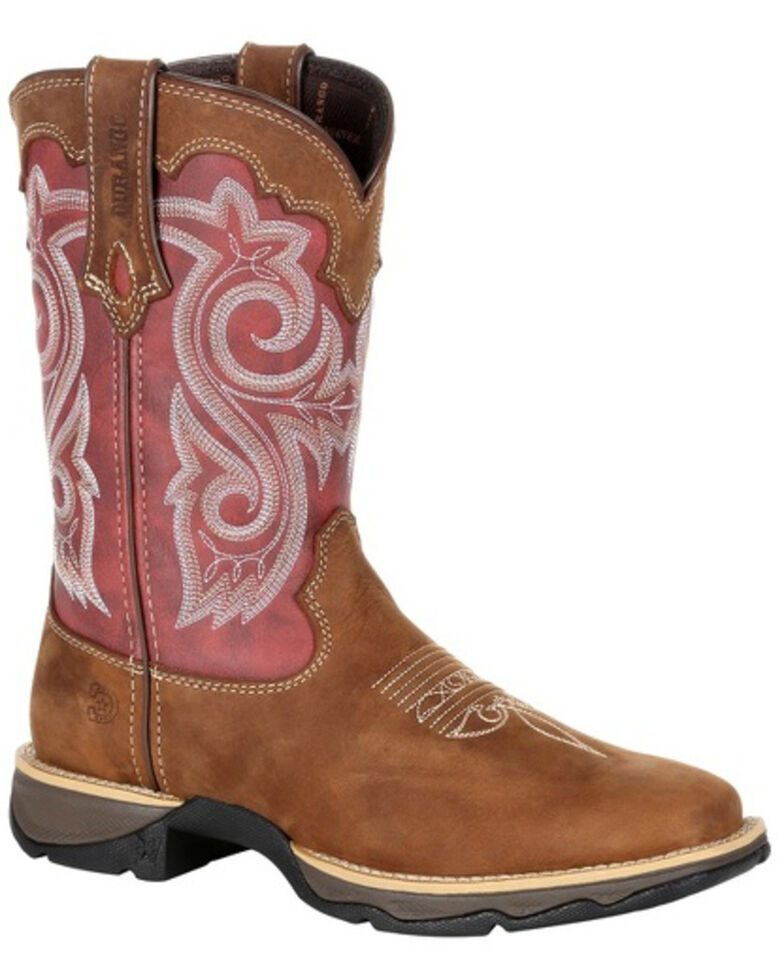Durango Women's Red Western Boots - Square Toe, Brown, hi-res
