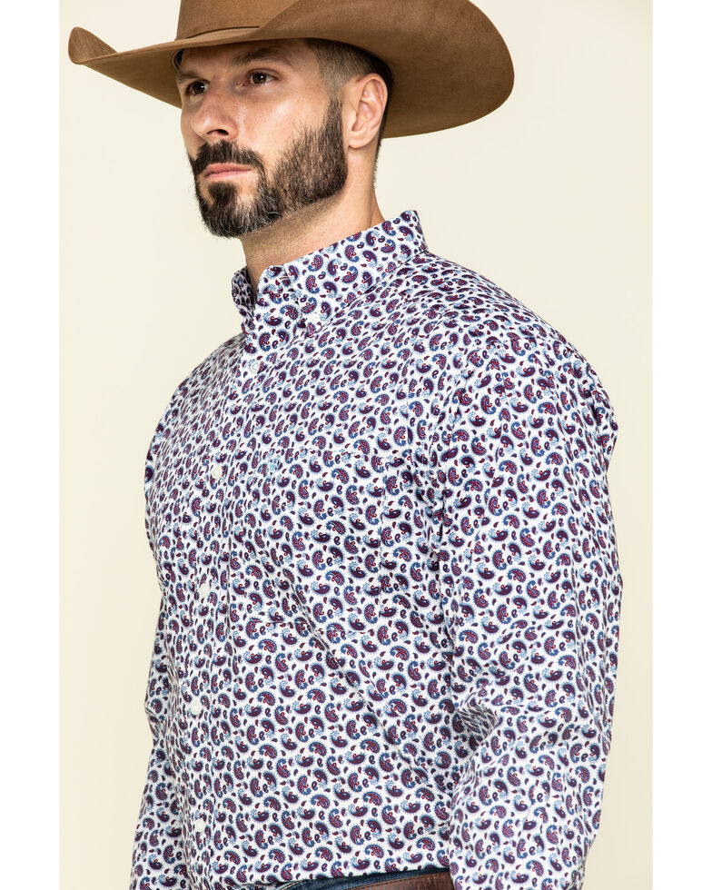 Ariat Men's Talladega Paisley Print Long Sleeve Western Shirt - Big , White, hi-res