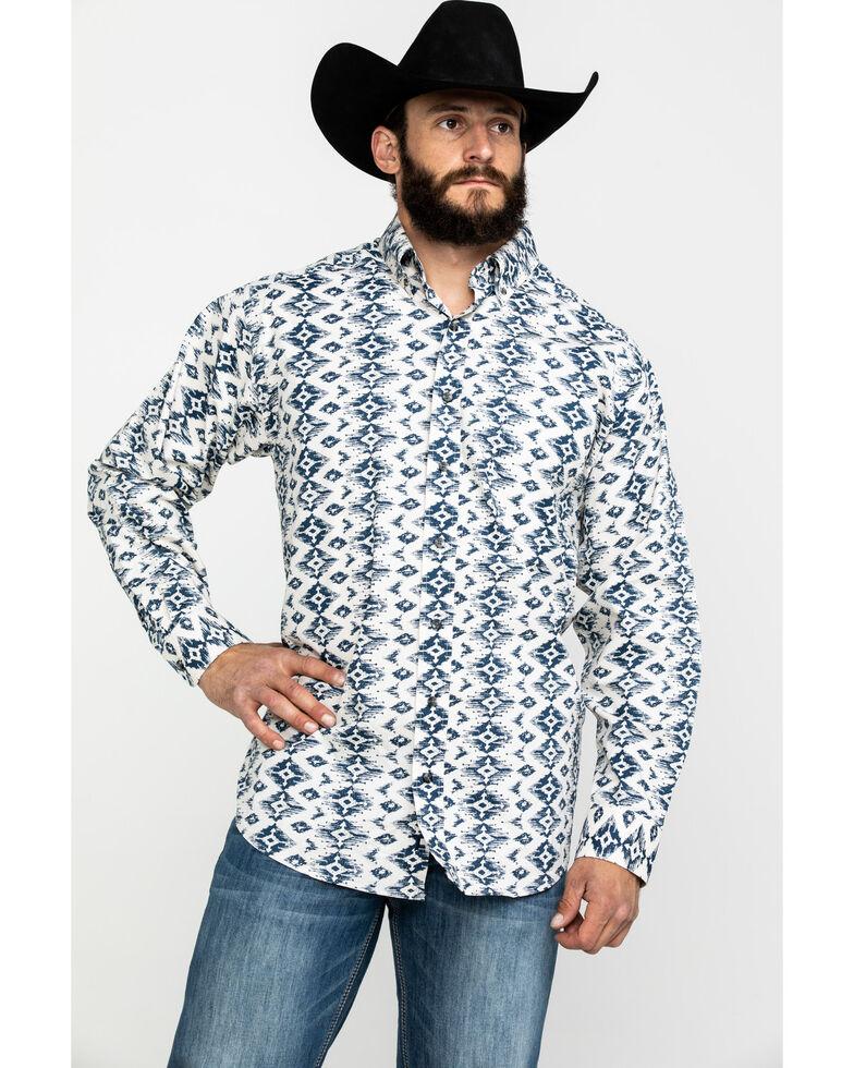 Tuf Cooper Men's White Stretch Aztec Print Long Sleeve Western Shirt , Indigo, hi-res