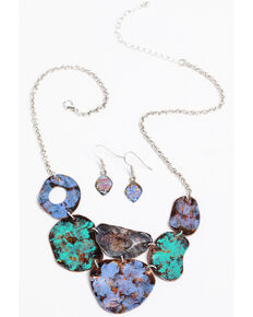 Shyanne Women's Painted Metal Abstract Necklace Earring Set, Turquoise, hi-res