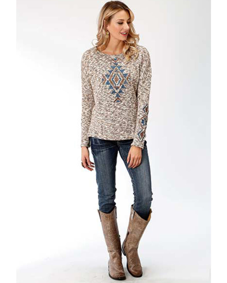 Studio West Women's Autumn Meadow Aztec Sweater, Brown, hi-res