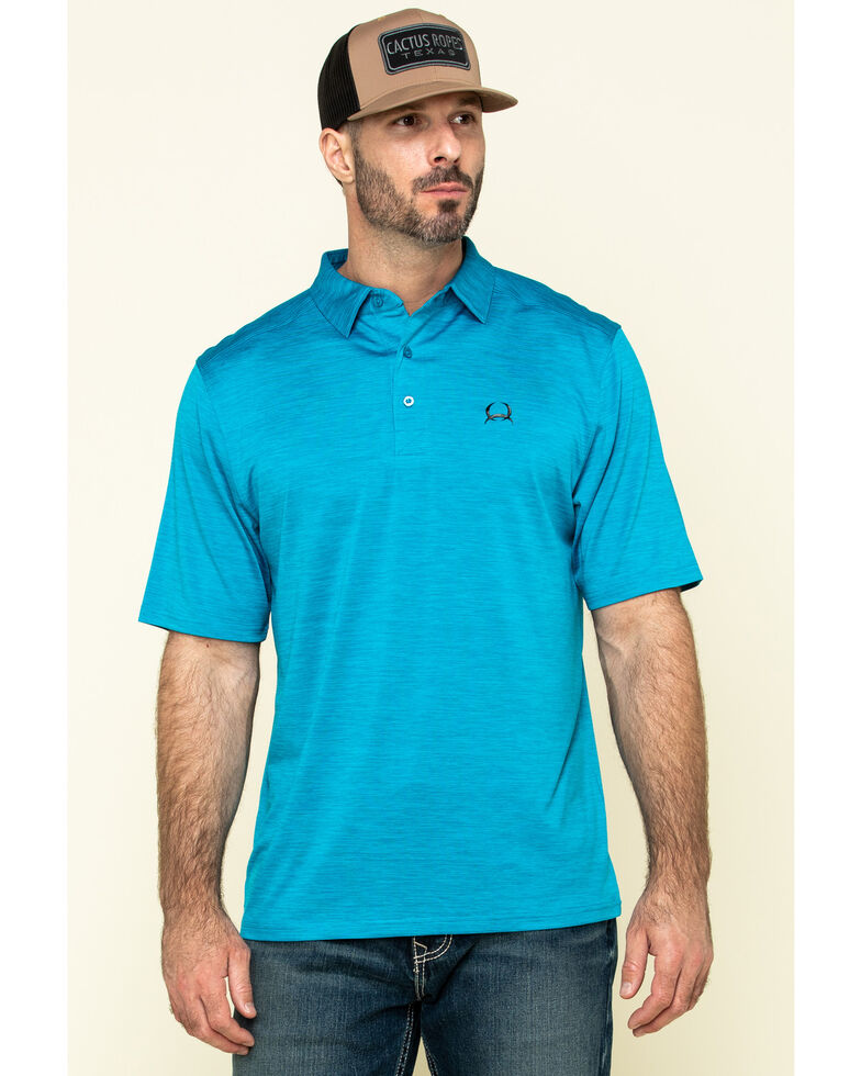 Cinch Men's Arena Flex Blue Solid Short Sleeve Polo Shirt , Blue, hi-res
