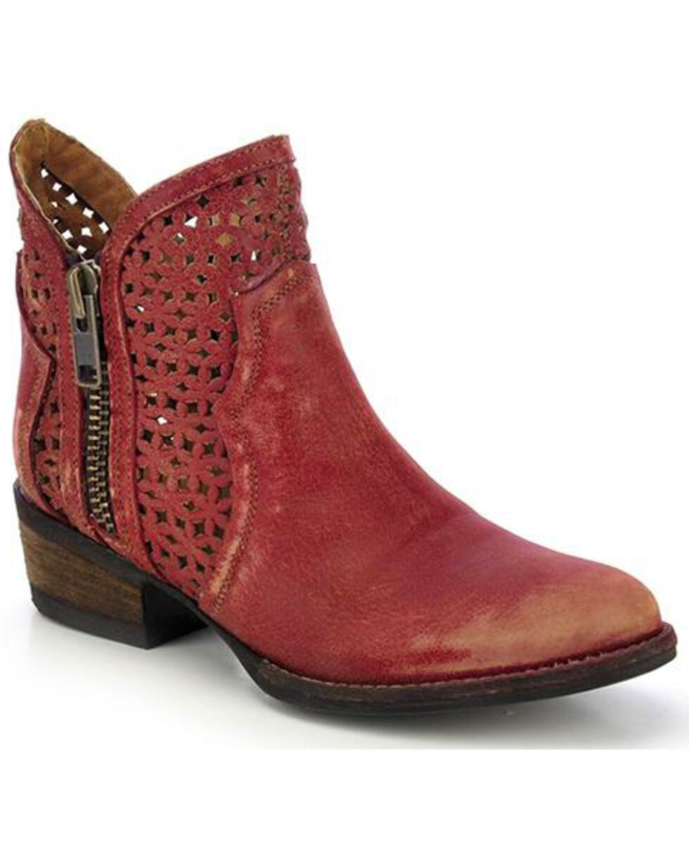 Circle G Cut-Out Booties - Round Toe, Red, hi-res