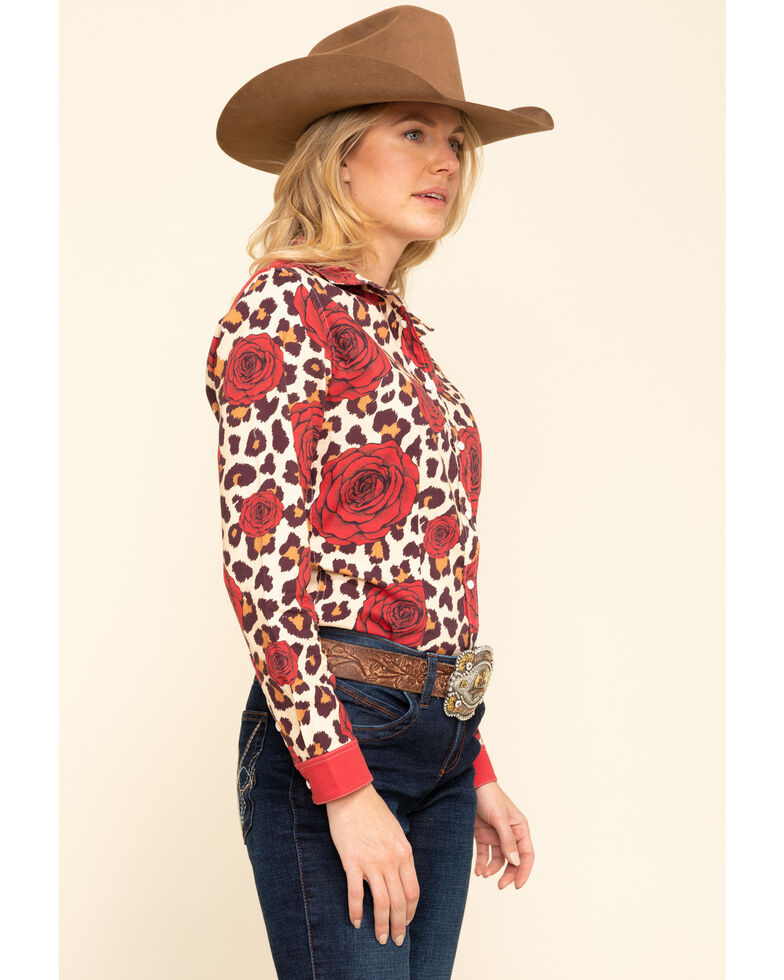 Ranch Dress'n Leopard & Rose Long Sleeve Western Shirt, Multi, hi-res