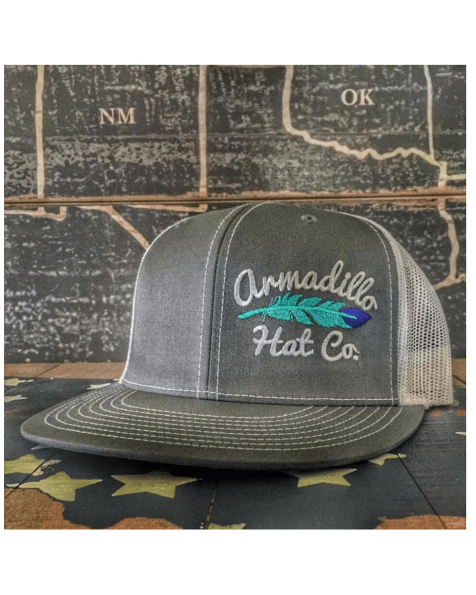 Armadillo Hat Co. Men's Little Wing Feather Baseball Cap, Grey, hi-res