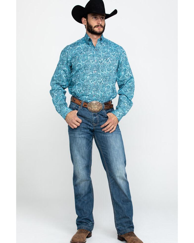 Stetson Men's Blue Paisley Print Button Long Sleeve Western Shirt , Blue, hi-res