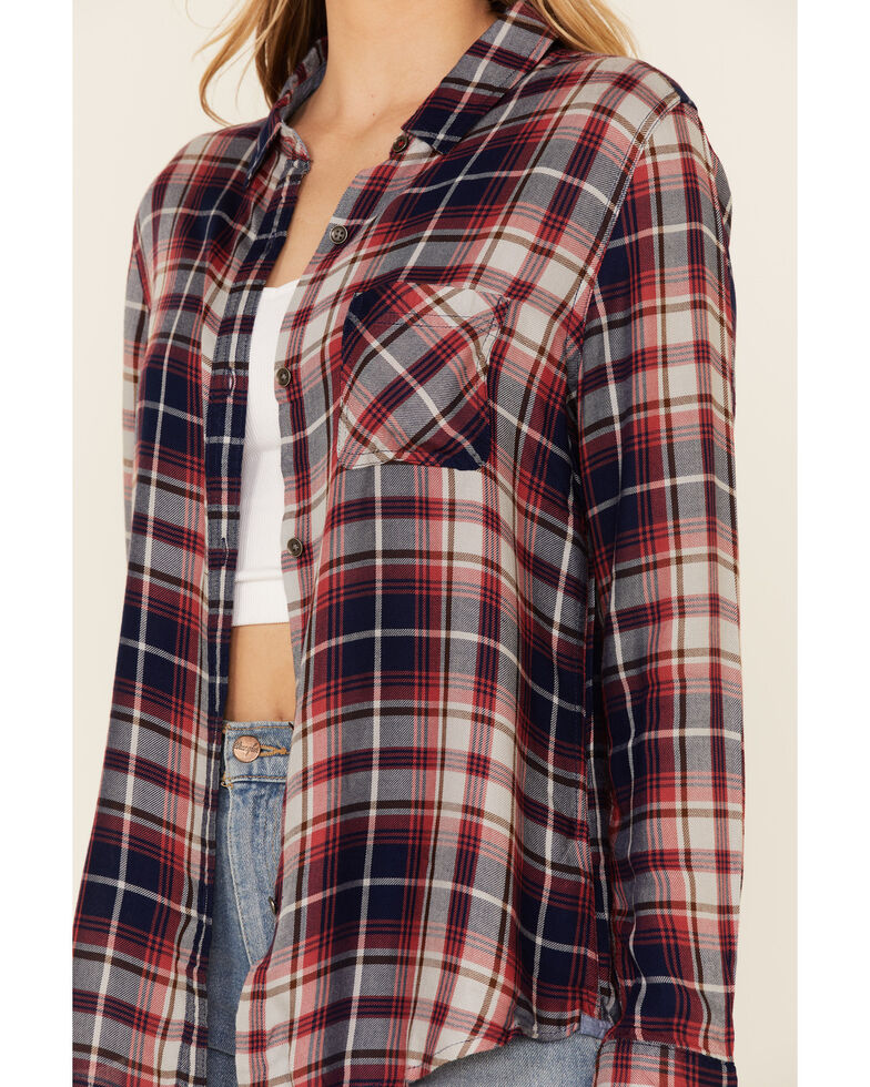 Flag & Anthem Women's Alcova Plaid Long Sleeve Button-Down Western Core Shirt , Rust Copper, hi-res