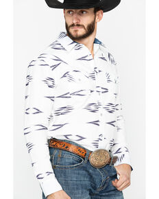 Cody James Men's Calzona Aztec Print Long Sleeve Western Shirt, White, hi-res
