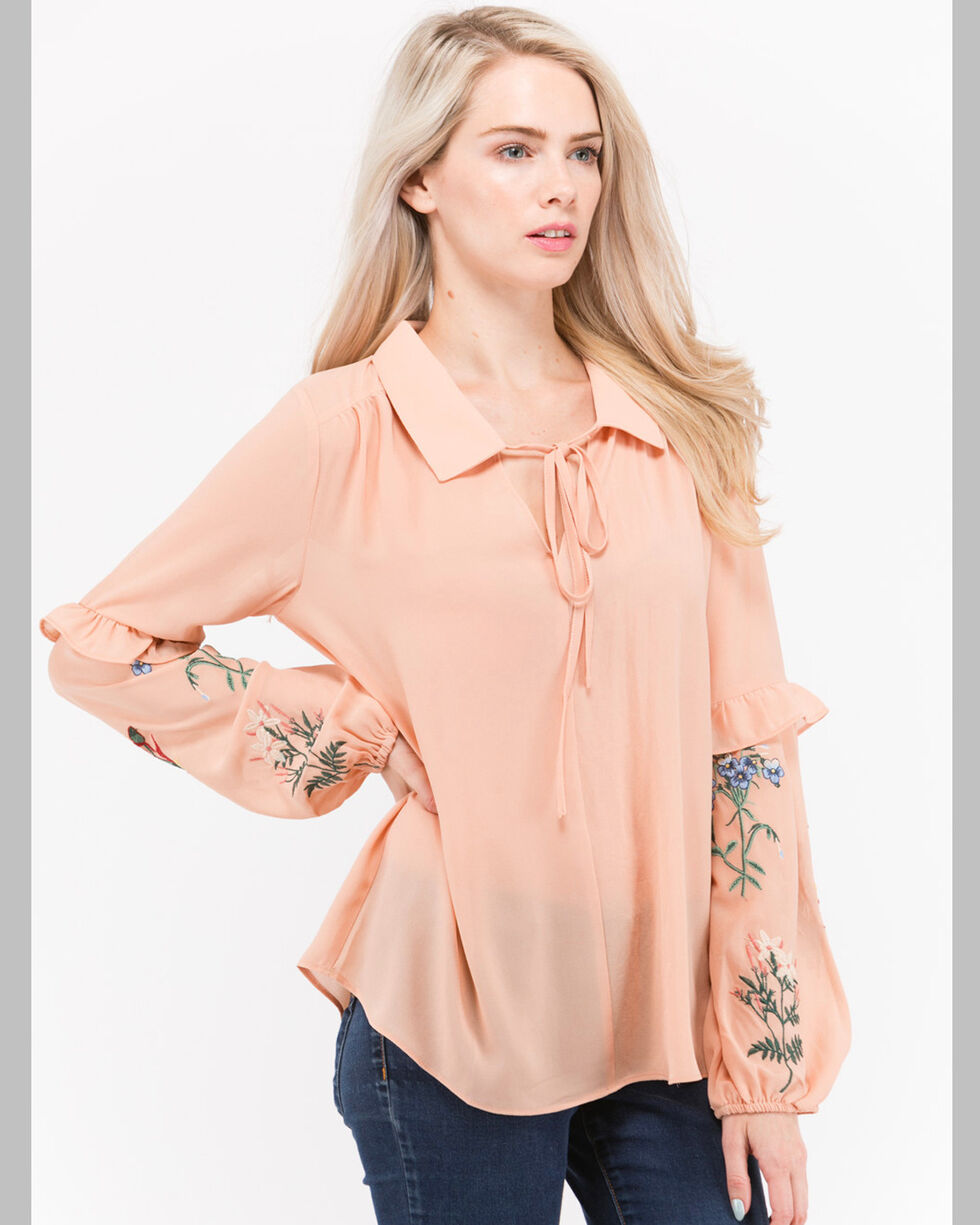 Polagram Women's Floral Embroidered Sleeve Top, Peach, hi-res