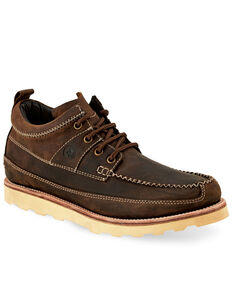 Old West Men's Lace-Up Oudoor Boots - Moc Toe, Brown, hi-res