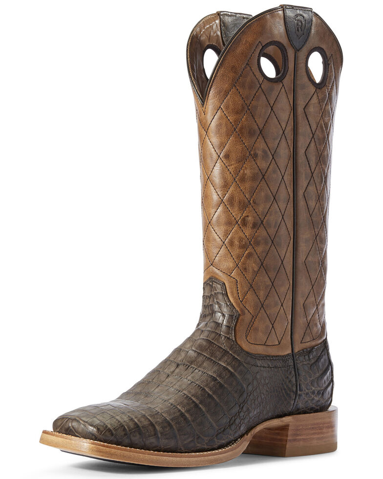 Ariat Men's Brown Caiman Belly Western Boots - Wide Square Toe, Brown, hi-res