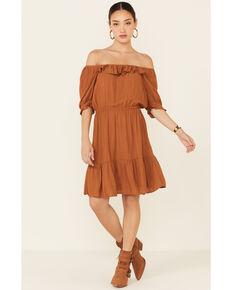 Wrangler Women's Off-Shoulder Peasant Dress, Rust Copper, hi-res