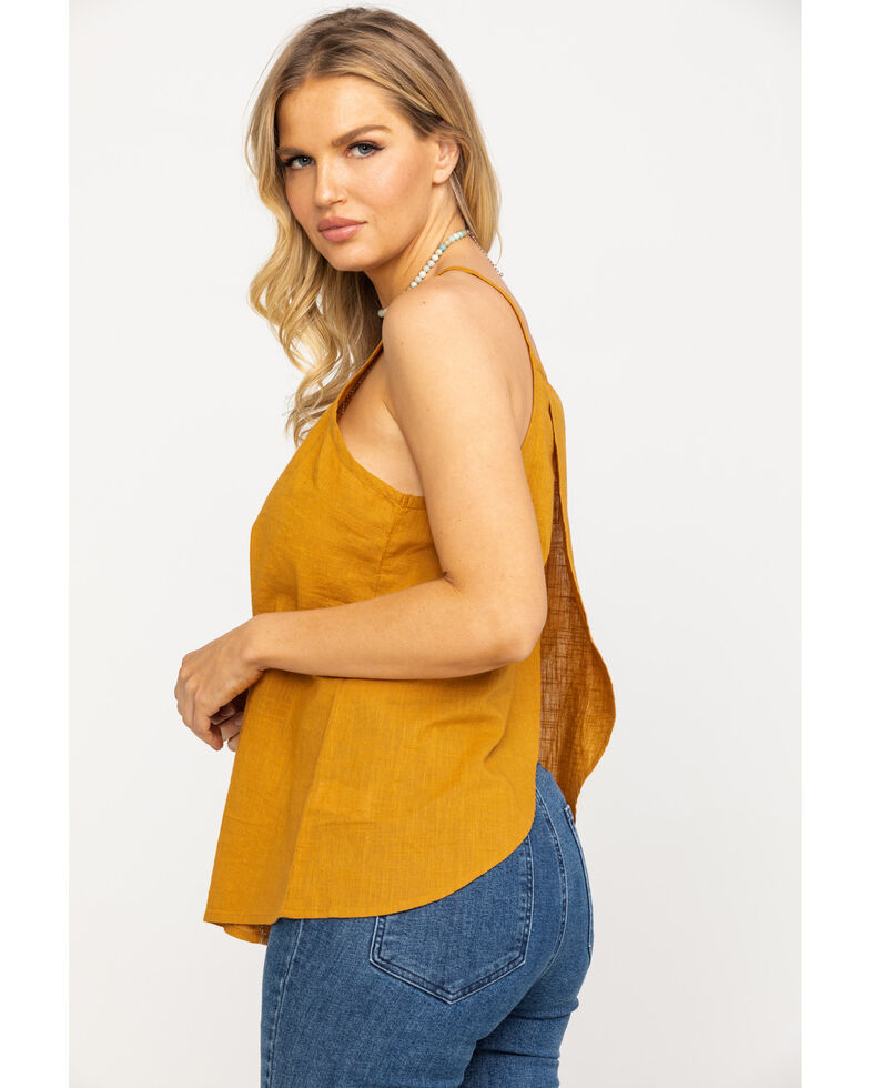 Shyanne Women's Mustard Embroidered Tulip Back Top , Dark Yellow, hi-res