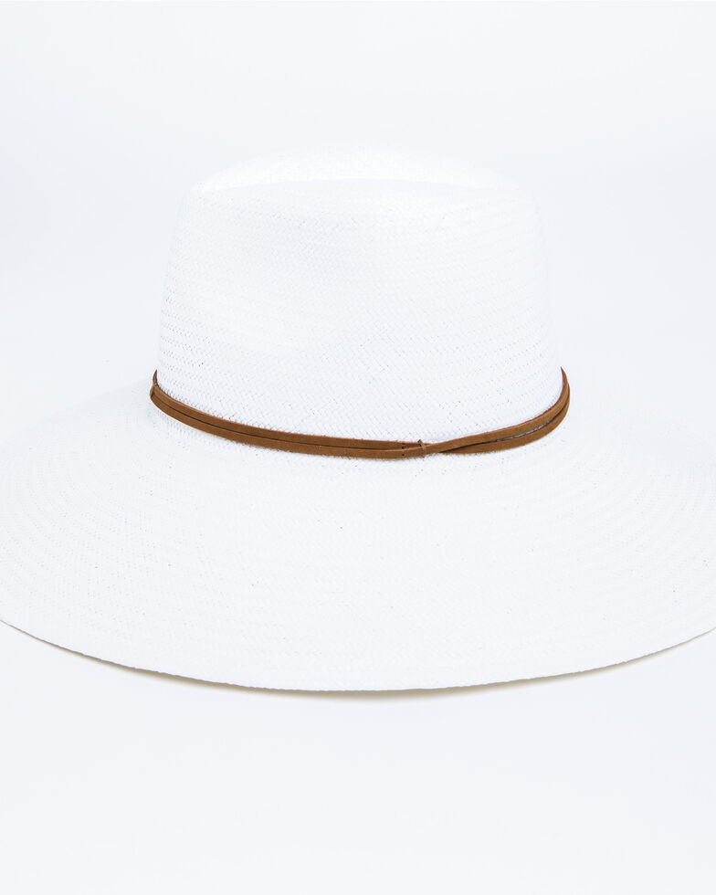 Nikki Beach Women's Wanderer Panama Rancher Straw Hat , White, hi-res