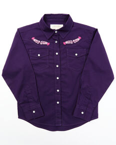 Shyanne Toddler Girls' Dark Purple Plaid Floral Yoke Long Sleeve Snap Western Shirt , Purple, hi-res