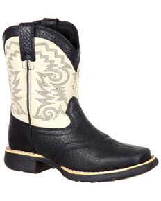 Durango Youth Boys' Western Saddle Boots - Square Toe, Black, hi-res