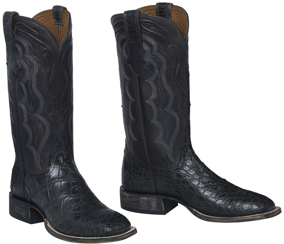 Lucchese Handmade Dark Grey Vince Giant Gator Cowboy Boots - Square Toe  , Dark Grey, hi-res