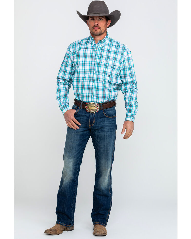 Roper Men's Amarillo Large Plaid Long Sleeve Western Shirt , Blue, hi-res