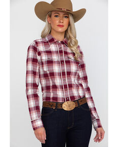 Shyanne Life Women's Plaid Riding Shirt , Burgundy, hi-res