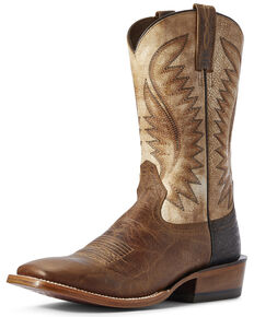 Ariat Men's Ringer Alabaster Western Boots - Wide Square Toe, Brown, hi-res