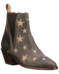 Lucchese Women's Anthracite Star Fashion Booties - Pointed Toe, Grey, hi-res