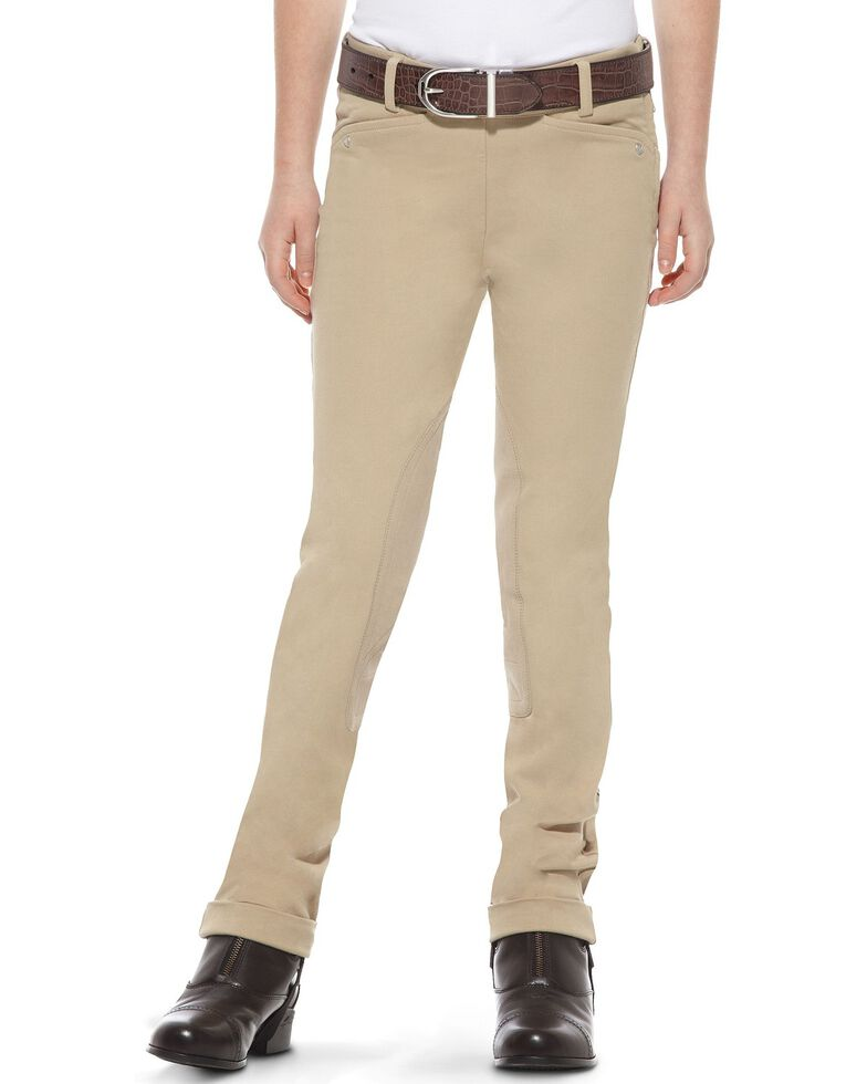 Ariat Girls' Heritage Side-Zip Jodhpur Riding Breeches, Tan, hi-res