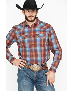 Cody James Men's Whiskey Ranch Plaid Long Sleeve Western Shirt , Brown, hi-res
