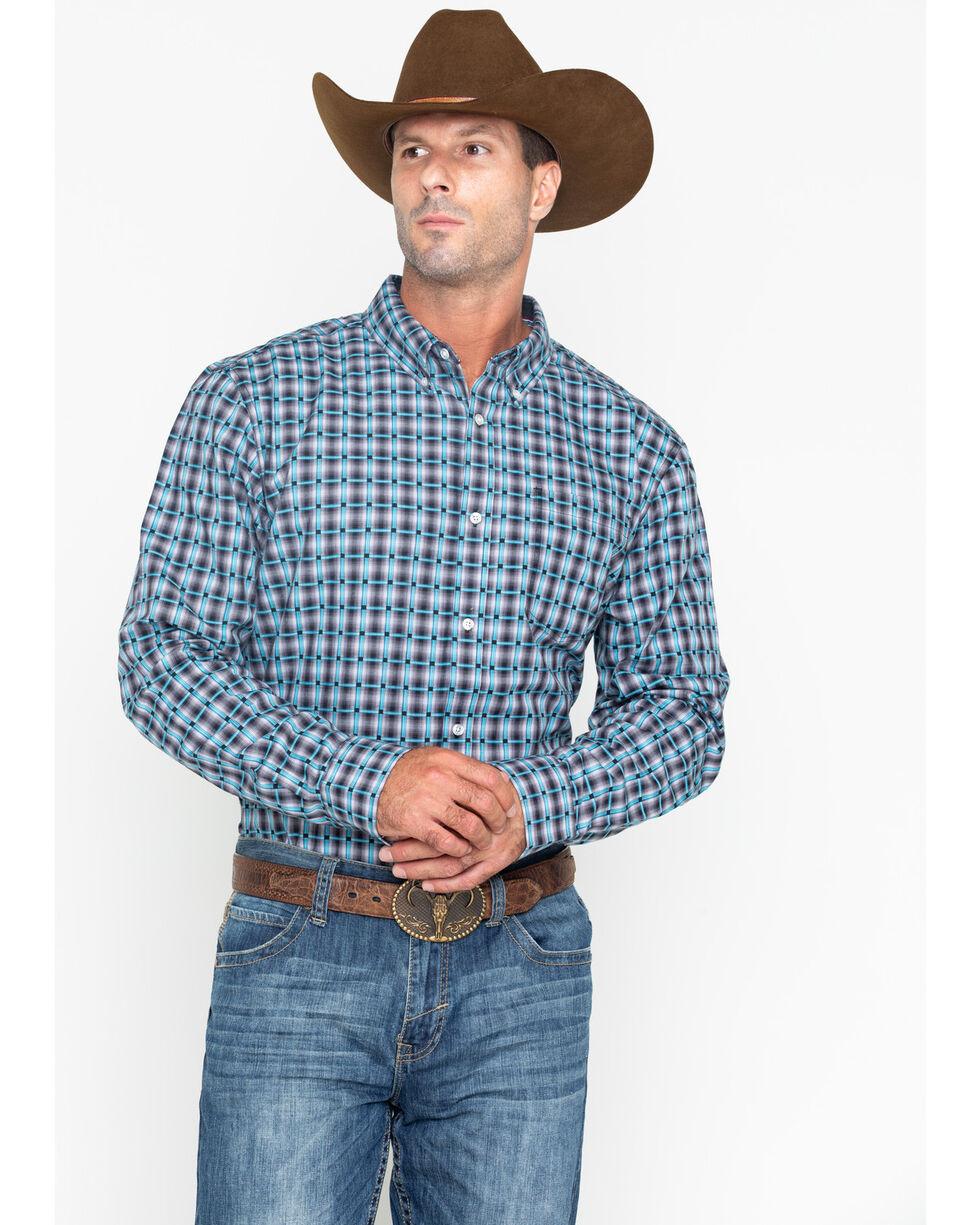 Cody James Core Men's Small Plaid Buckshot Button Long Sleeve Shirt , Grey, hi-res