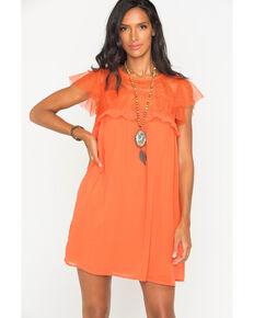 5505083bfce760 Polagram Women's Orange Lace Ruffle Sleeve Dress