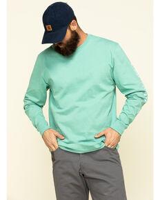 Carhartt Men's Green Signature Sleeve Logo Long Sleeve Work T-Shirt , Green, hi-res