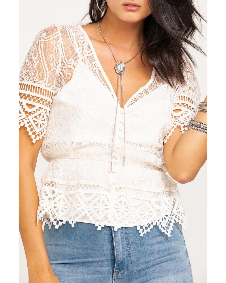 Shyanne Women's Lace Button Peplum Blouse, Ivory, hi-res