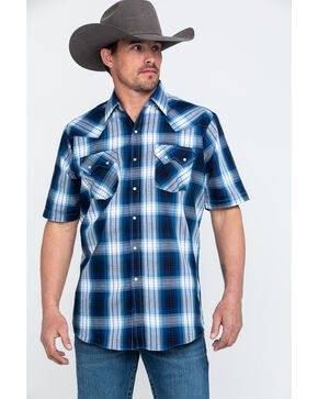 Ely Cattleman Men's Navy Plaid Short Sleeve Western Shirt - Tall , Navy, hi-res