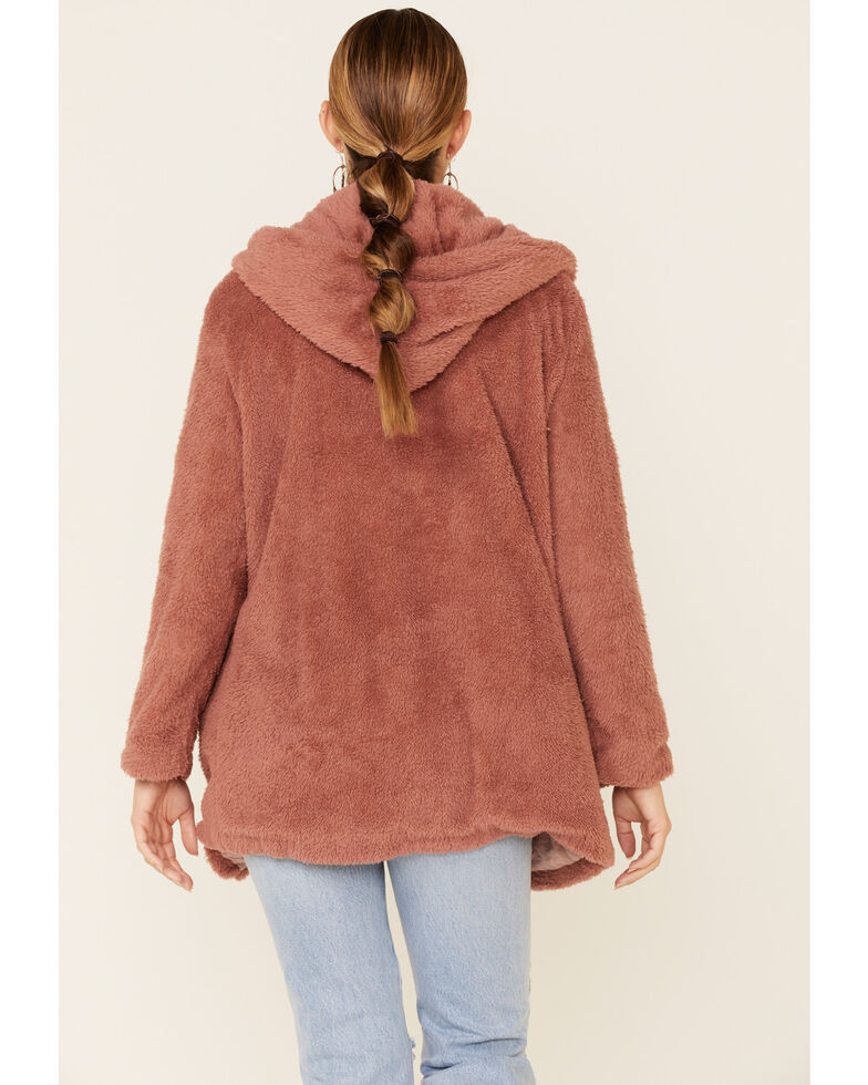 Very J Women's Teddy Zip-Up Hooded Cardigan , Pink, hi-res