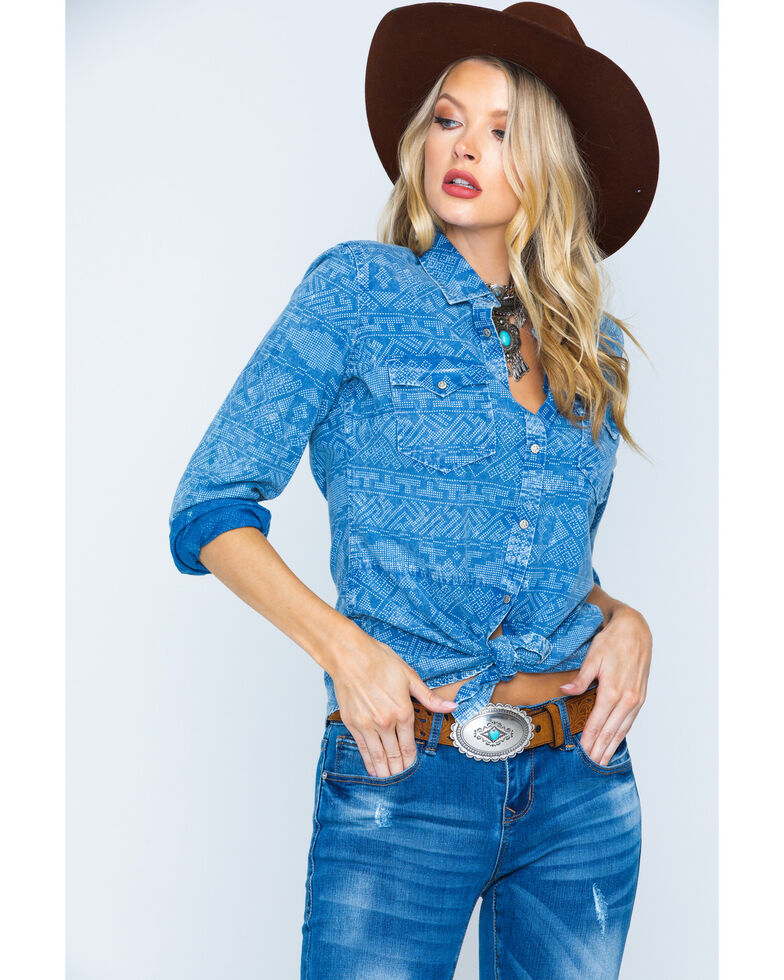 Ryan Michael Women's Panel Indigo Shirt , Indigo, hi-res