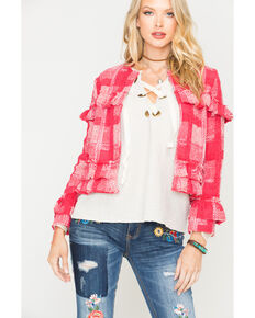 Jack by BB Dakota Women's Ruby Sparks Fly Plaid Blazer , Ruby, hi-res