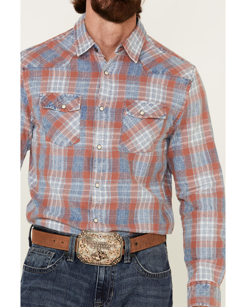 Flag & Anthem Men's Rosburg Plaid Long Sleeve Western Shirt , Indigo, hi-res