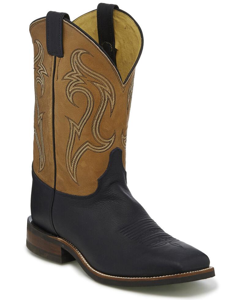Justin Men's Datona Western Boots - Wide Square Toe, Black, hi-res