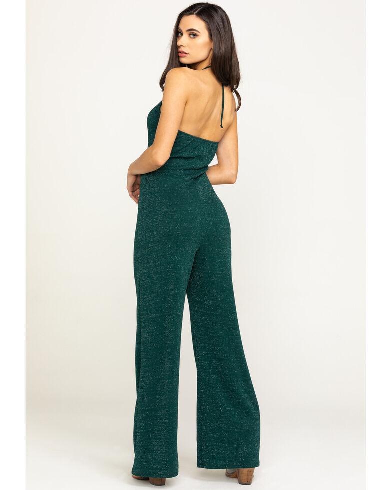 Luna Chix Women's Green Metallic Jumpsuit , Green, hi-res