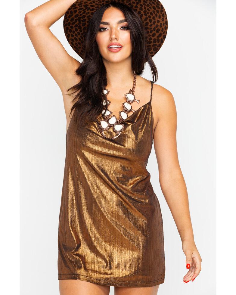 Flying Tomato Women's Metallic Party Dress , Bronze, hi-res