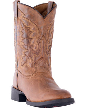 Laredo Men's Tan Crawford Roper Boots - Round Toe , Tan, hi-res