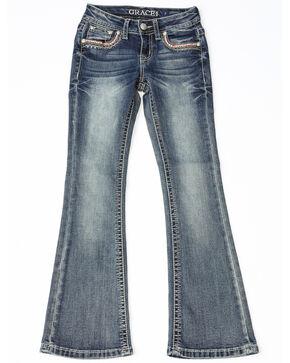 Grace In LA Girls Embroidered Pocket Skinny Jeans, Indigo, hi-res