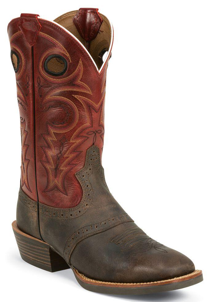 Justin Silver Saddle Vamp Cowboy Boots - Square Toe, Chocolate, hi-res