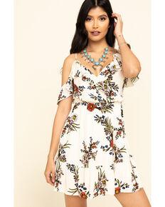 ILLA ILLA Women's Beige Floral Off The Shoulder Dress , Beige/khaki, hi-res